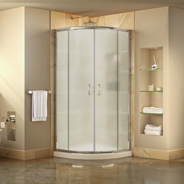 DreamLine Prime Frameless Sliding Shower Enclosure and SlimLine 38 in. by 38 in. Quarter Round Shower Tray