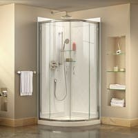 DreamLine Prime 36 3/8 in. by 36 3/8 in. Frameless Sliding Shower Enclosure, Base and QWALL-4 Shower Backwall Kit