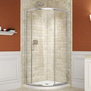 DreamLine Solo Frameless Sliding Shower Enclosure and SlimLine 36 x 36-inch Quarter Round Shower Floor