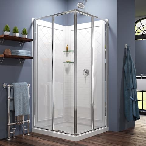 DreamLine Cornerview 36 in. D x 36 in. W x 76 3/4 in. H Sliding Shower Enclosure, Shower Base and Acrylic Backwall Kit
