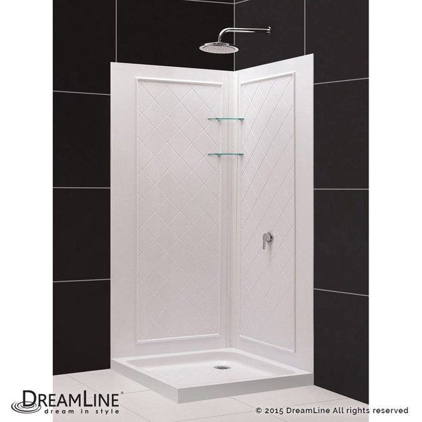 DreamLine Cornerview Sliding Shower Enclosure, 36 In. By 36 In. Double  Threshold Shower Base And QWALL 4 Shower Backwall Kit   Free Shipping Today  ...