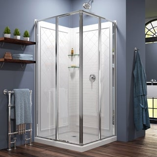DreamLine Cornerview Sliding Shower Enclosure, 36 in. by 36 in. Double Threshold Shower Base and QWALL-4 Shower Backwall Kit