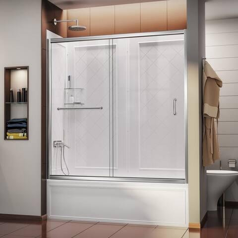 "DreamLine Infinity-Z 56-60 in. W x 60 in. H Sliding Tub Door and Acrylic Backwall Kit - 28"" - 32"" x 56"" - 60"""
