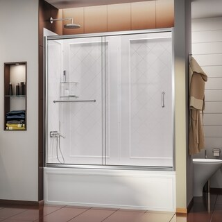 DreamLine Infinity-Z 56 to 60 in. Frameless Sliding Tub Door and QWALL-Tub Backwall Kit