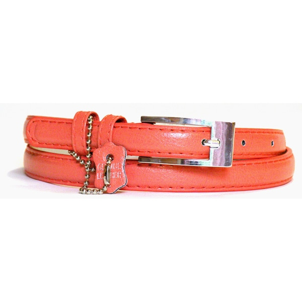 Women's Coral Leather Skinny Belt