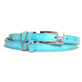 Women's Aqua Leather Skinny Belt
