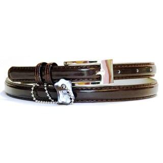 Women's Brown Patent Leather Skinny Belt