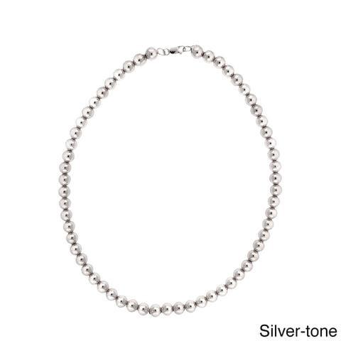 Mondevio Rhodium-plated 8mm Beaded Necklace