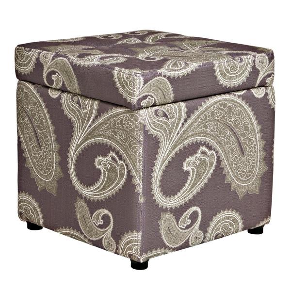Better Living Delphia Paisley Purple Storage Cube Ottoman