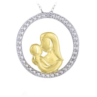 DB Designs Sterling Silver Two-tone Diamond Accent of Mother With Child