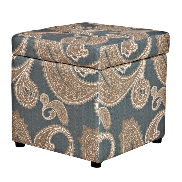 Handy Living Duncan Feathered Paisley French Blue Storage Cube Ottoman