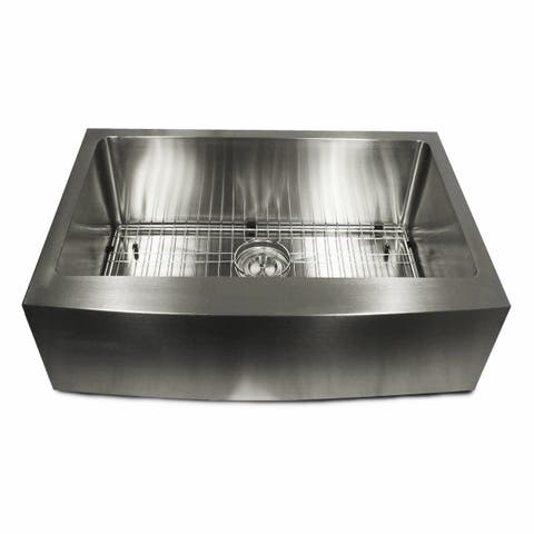 Stainless Steel 30-inch Apron Kitchen Sink with grid and drain