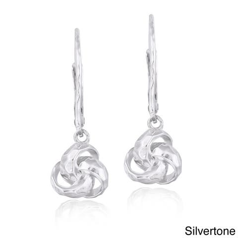 Mondevio Sterling Silver Hammered Love Knot Dangle Leverback Earrings
