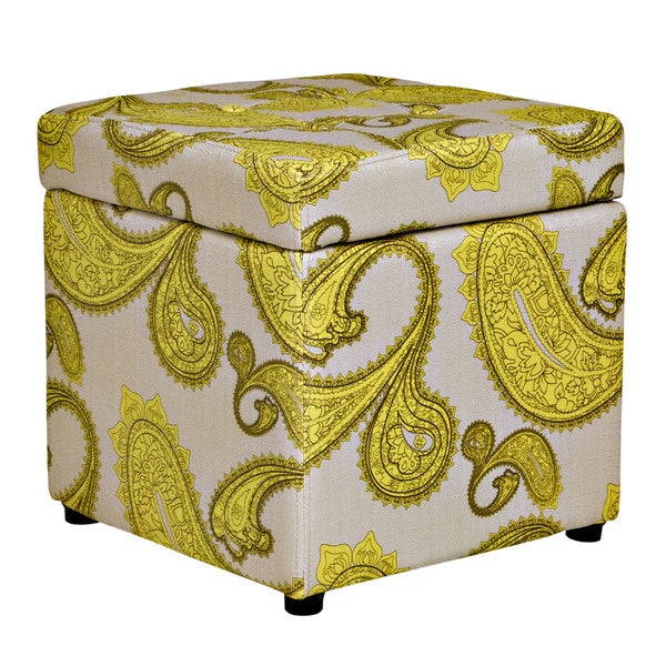 Better Living Delphia Lemongrass Paisley Storage Cube Ottoman