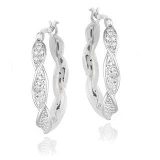 DB Designs Sterling Silver Diamond Accent Twist Hoop Earrings