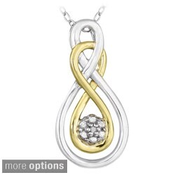 DB Designs Two-tone Sterling Silver Diamond Twisted Teardrop Necklace