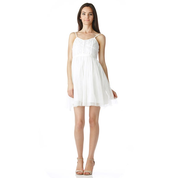 Stanzino Women's Spaghetti Strap Ivory Layered Dress
