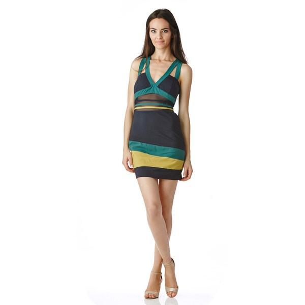 Stanzino Women's Color Block Mesh Mini Dress