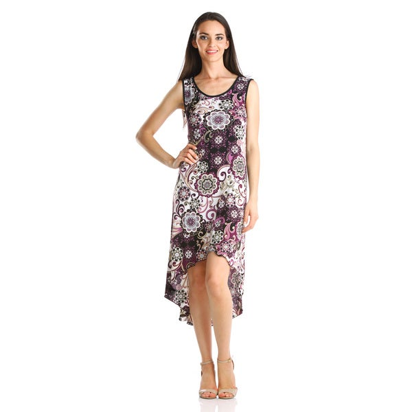 Stanzino Women's Purple Printed High-low Dress