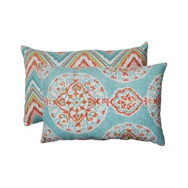 Pillow Perfect Mirage/ Chevron Rectangular Throw Pillows (Set of 2)