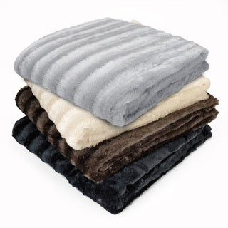 Madison Park York Polyester Brushed Long Fur Knitted Throw