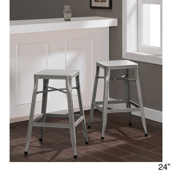 Depot Tabouret Silver Stool Set Of 2 Free Shipping