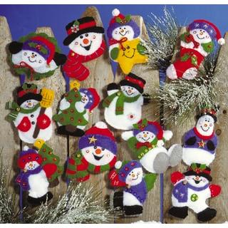 """Lots Of Fun Snowmen Ornaments Felt Applique Kit-3""""X4"""" Set Of 13"""