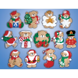 "Lots Of Bears Ornaments Felt Applique Kit-3""X4"" Set Of 13"