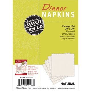 Stitch 'em Up Dinner Napkins For Embroidery 4/Pkg-Natural
