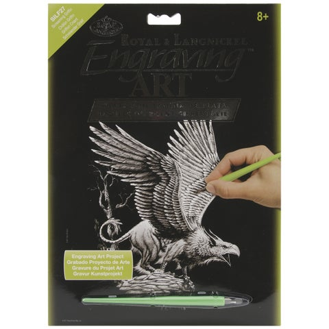 "Silver Foil Engraving Art Kit 8""X10""-Screaming Griffin"