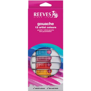 Reeves Gouache Watercolor 10ml 12/Pkg-Assorted Colors