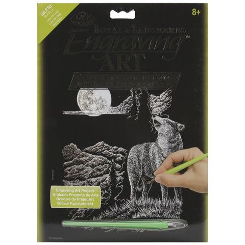 "Silver Foil Engraving Art Kit 8""X10""-Wolf Moon"
