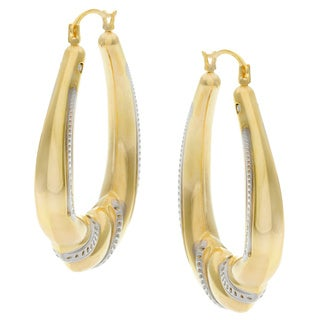 Forever Last 14k Two-tone Gold Oval-cut Crystal Hoop Earrings