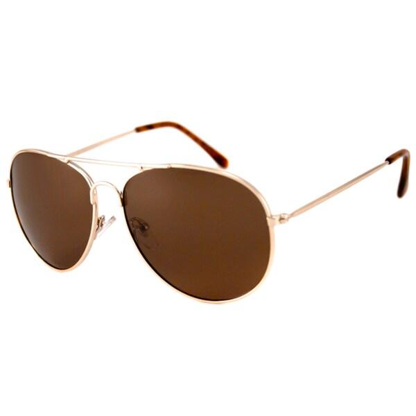Alta Vision Men's/ Unisex Aviator II Gold/Polarized Brown Sunglasses