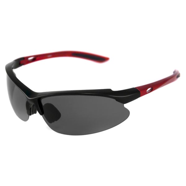 Alta Vision Men's/ Unisex Surf Side Red/Polarized Grey Wrap Sunglasses