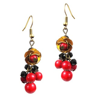 Handmade Blooming Water Lotus Red Coral Dangle Brass Earrings (Thailand)
