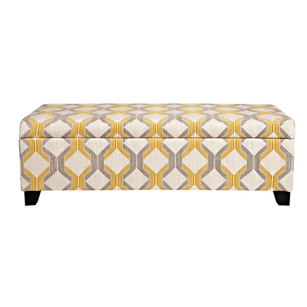 Handy Living Kent Modern Deco Yellow-Taupe Tilework Storage Ottoman