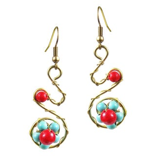 Handmade Exotic Floral Swirl Turquoise and Coral Dangle Earrings (Thailand)