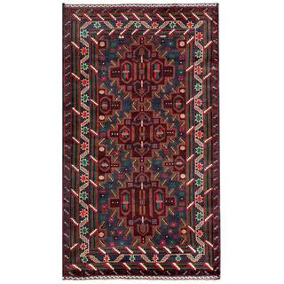 Herat Oriental Afghan Hand-knotted Tribal Balouchi Grey/ Burgundy Wool Rug (3'7 x 6'3)