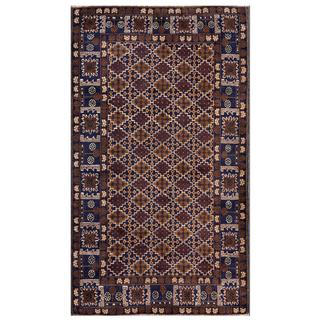 Herat Oriental Afghan Hand-knotted Tribal Balouchi Wool Area Rug (3'11 x 6'8)