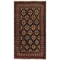 Herat Oriental Afghan Hand-knotted Tribal Balouchi Wool Area Rug (3'7 x 6'7) - 3'7 x 6'7