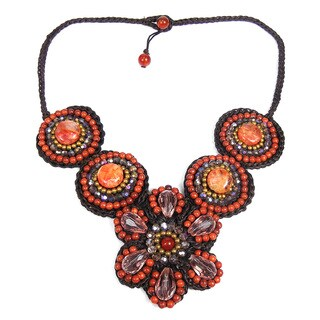 Handmade Floral Enchantment Orange Agate Mosaic Necklace (Thailand)