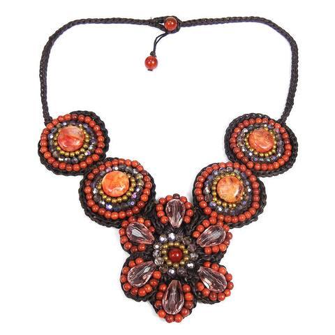 Handmade Floral Enchantment Orange Agate Mosaic Necklace (Thailand)
