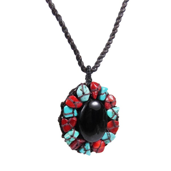 Sweet Midnight Mosaic Oval Onyx Stone Necklace (Thailand)