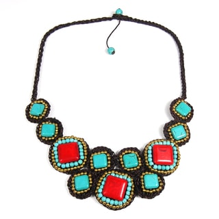 Tribal Allure Mosaic Beauty Mix Stone Necklace (Thailand)