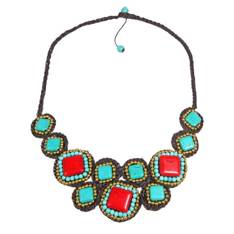 Handmade Mosaic Beauty Mix Stone Necklace (Thailand) - Red