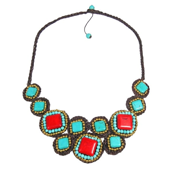 Handmade Mosaic Beauty Mix Stone Necklace (Thailand) - Red. Opens flyout.