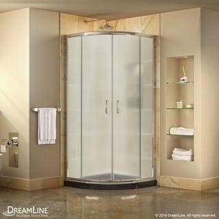 DreamLine Prime 33 in. x 33 in. x 74 3/4 in. Corner Sliding Shower Enclosure and SlimLine Shower Base Kit, Frosted Glass