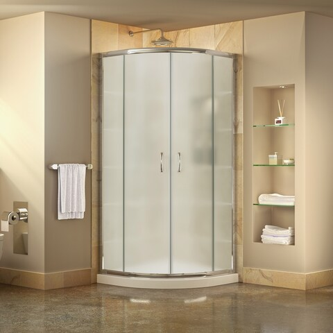DreamLine Prime 33 in. x 33 in. x 74 3/4 in. Corner Sliding Shower Enclosure and SlimLine Shower Base Kit, Frosted Glass