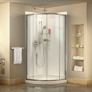 DreamLine Prime 34 3/8 in. by 34 3/8 in. Frameless Sliding Shower Enclosure, Base and QWALL-4 Shower Backwall Kit
